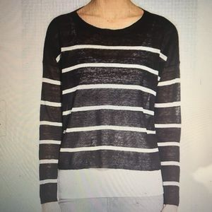 EILEEN FISHER BLACK/WHITE STRIPED SWEATER. M